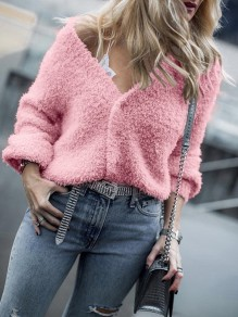 Cardigan boutons col en V manches longues mode rose