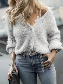 Grey Fuzzy Fur Teddy Single Breasted V-neck Long Sleeve Fashion Cardigan Sweater
