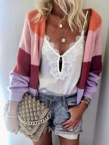 Red Rainbow Striped Draped Long Sleeve Casual Cardigan Sweater