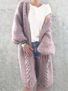 Pink V-neck Lantern Sleeve Oversize Fashion Cardigan Sweater
