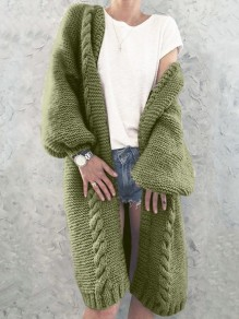 Green V-neck Lantern Sleeve Oversize Fashion Cardigan Sweater