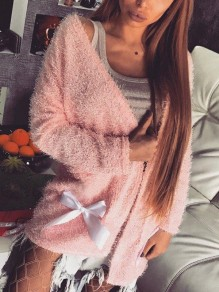 Cardigan poches noeud papillon col en V manches longues mode rose