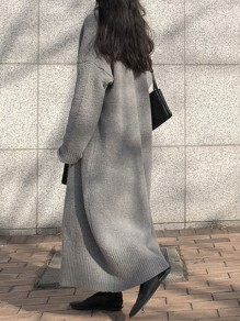 Grey V-neck Long Sleeve Fashion Oversize Cardigan Sweater