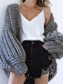 Grey V-neck Lantern Sleeve Oversize Fashion Cardigan Sweater