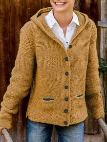Yellow Pockets Single Breasted Hooded Long Sleeve Fashion Cardigan Sweater