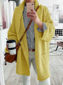 Cardigan poches col en V manches longues mode oversize jaune