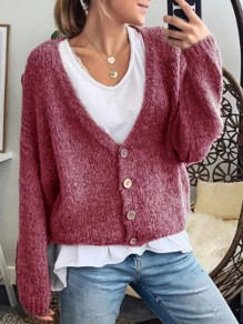 Red Buttons V-neck Long Sleeve Fashion Cardigan Sweater