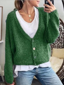Green Buttons V-neck Long Sleeve Fashion Cardigan Sweater