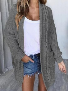Grey Pocket Oversize V-neck Long Sleeve Cardigan Long Sweater
