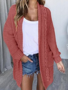 Red Pocket Oversize V-neck Long Sleeve Cardigan Long Sweater