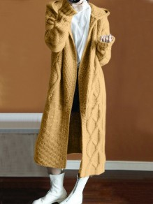 Yellow Hooded Oversize Long Sleeve Fashion Cardigan Sweater