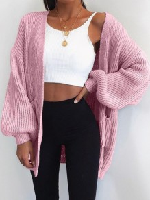 Pink Pockets V-neck Long Sleeve Oversize Fashion Cardigan Sweater