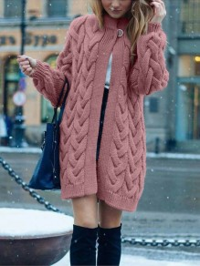 Pink Patchwork Buttons oversize Long Sleeve Fashion Cardigan Sweater
