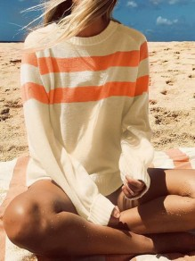 White Striped Print Long Sleeve U-neck Fashion Pullover Sweater