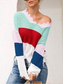 Pink Striped Irregular Tassel One-shoulder Wavy Edge Casual Cardigan Sweater
