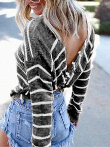 Grey White Striped Irregular Backless Round Neck Long Sleeve Pullover Sweater