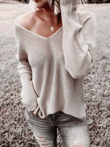 Apricot Asymmetric Shoulder V-neck Long Sleeve Oversize Pullover Sweater