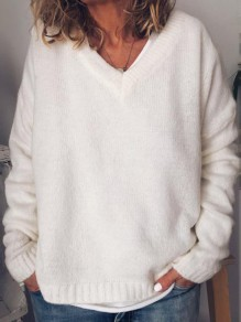 White V-neck Long Sleeve Oversize Fashion Pullover Sweater