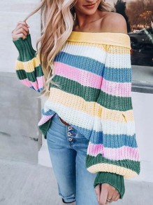 Blue Striped Off Shoulder Lantern Sleeve Oversized Casual Pullover Sweater