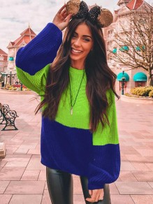 Neon Green Patchwork Geometric Lantern Sleeve Oversized Casual Pullover Sweater