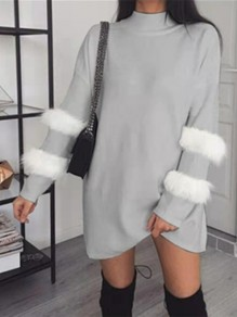 Grey Patchwork Faux Fur Long Sleeve Fashion Pullover Sweater Dress