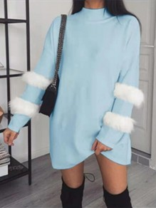 Light Blue Patchwork Fur Turndown Collar Pullover Sweater Dress