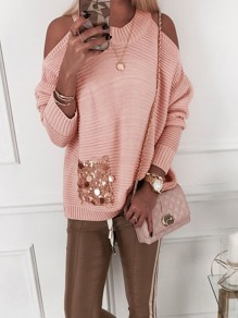 Pink Patchwork Sequin Cut Out Bodycon Fashion Sweater