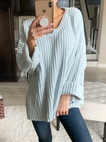 Pull poches col V manches longues mode oversize bleu