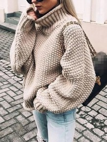 Khaki High Neck Long Sleeve Oversize Fashion Pullover Sweater