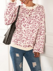 Pink Leopard Print Round Neck Long Sleeve Oversize Pullover Sweater
