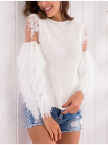 White Patchwork Lace Fur Pearl Cute Pullovers Sweaters