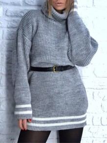 Light Grey Striped Print High Neck Long Sleeve Oversize Pullover Sweater