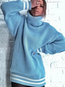 Light Blue Striped Print High Neck Long Sleeve Oversize Pullover Sweater
