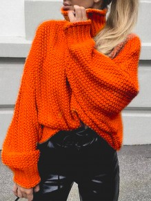 Orange High Neck Long Sleeve Oversize Fashion Pullover Sweater