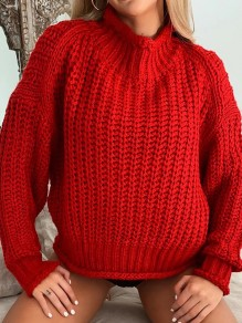 Red High Neck Long Sleeve Oversize Fashion Pullover Sweater
