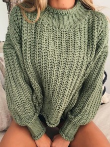 Pull col haut manches longues mode oversize vert
