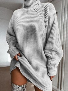 Grey High Neck Long Sleeve Fashion Oversize Pullover Sweater