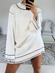White Patchwork Band Collar Long Sleeve Oversize Pullover Sweater