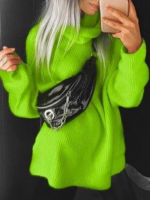 Neon Green Turndown Collar Long Sleeve Oversize Pullover Fashion Sweater