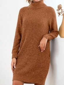 Brown Pocket Turndown Collar Long Sleeve Oversize Pullover Fashion Sweater