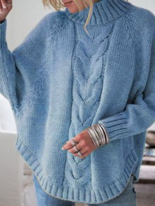 Blue Turndown Collar Long Sleeve Oversize Pullover Fashion Sweater