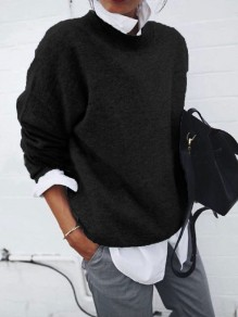 Black False 2-in-1 Round Neck Long Sleeve Fashion Pullover Sweater