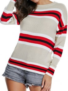 Apricot Patchwork Red Striped Round Neck Long Sleeve Pullover Oversize Sweater