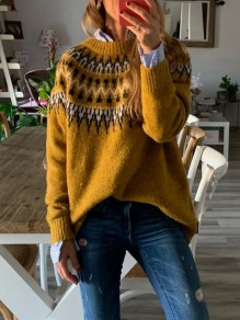 Yellow Geometric Print Round Neck Long Sleeve Fashion Pullover Sweater