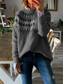 Grey Geometric Print Round Neck Long Sleeve Fashion Pullover Sweater