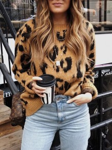 Brown Leopard Print Round Neck Long Sleeve Fashion Pullover Sweater
