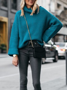Blue High Neck Long Sleeve Oversize Fashion Pullover Sweater