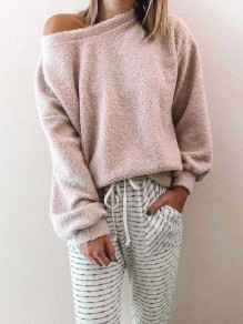 Apricot Asymmetric Shoulder Long Sleeve Oversize Fashion Pullover Sweater