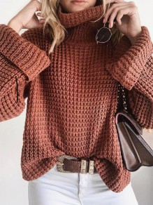 Brown Turndown Collar Long Sleeve Oversize Pullover Fashion Sweater