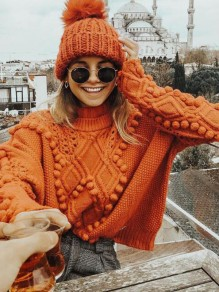 Orange Fur Ball High Neck Oversized Casual Pullover Sweater